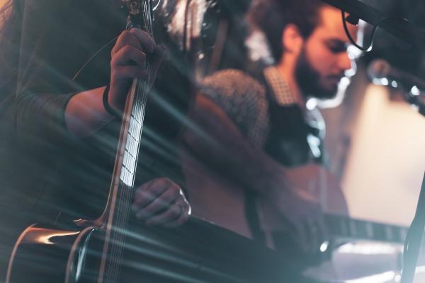 gitarrist, während, einer, musikalischen, darbietung. - 29652677