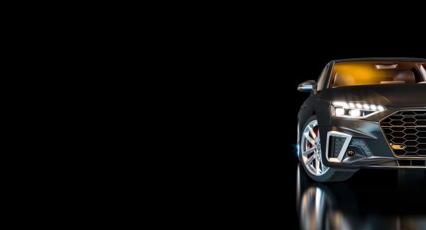 schwarzes, luxusauto, mit, beleuchteten, scheinwerfern, auf - 29683233
