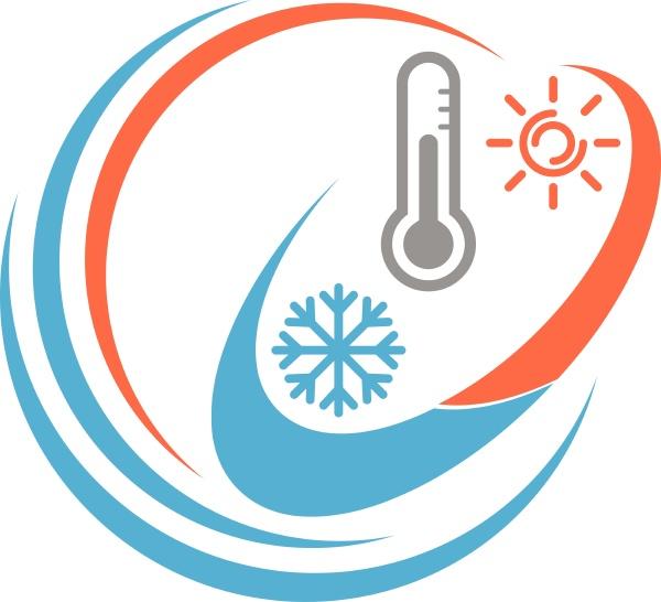 thermometer sonne und schneeflocke temperaturlogo hintergrund