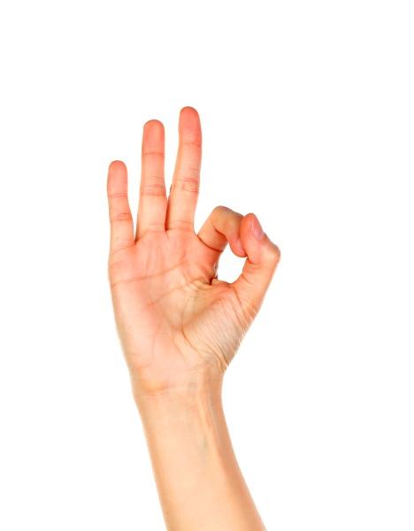 weibliche hand sagt ok