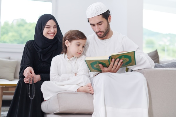 muslim, family, reading, quran, and, praying - 29806135