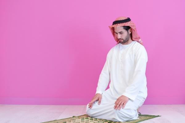 young, arabian, muslim, man, praying, on - 29806320