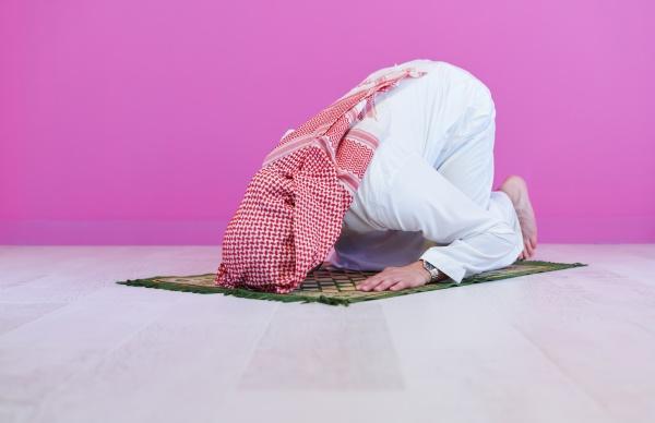young, arabian, muslim, man, praying, on - 29806327