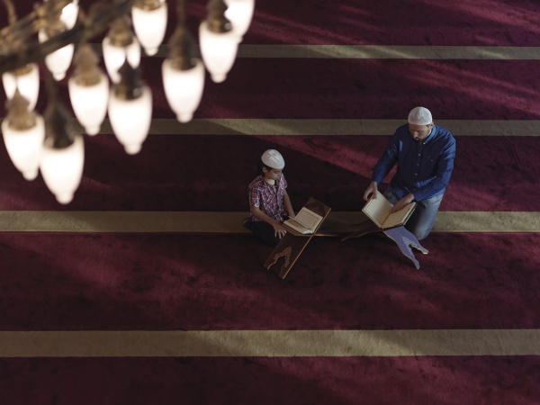 father, and, son, in, mosque, praying - 29811015