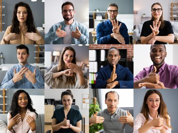 menschen die gehoerlose gebaerdensprache lernen