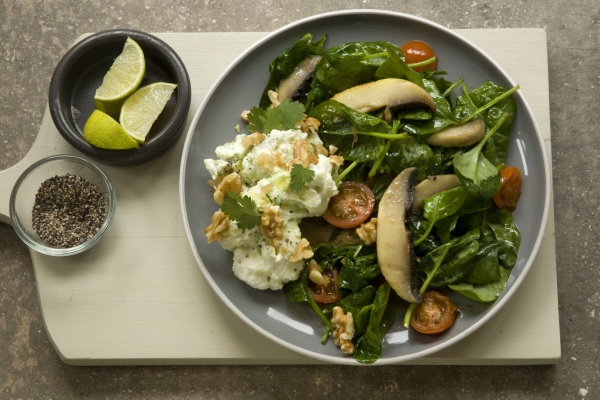 spinatsalat mit avocado ricotta und champignons