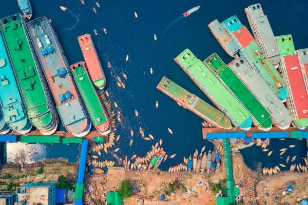 luftaufnahme, einiger, fähren, die, zufällig, entlang, der - 30148868