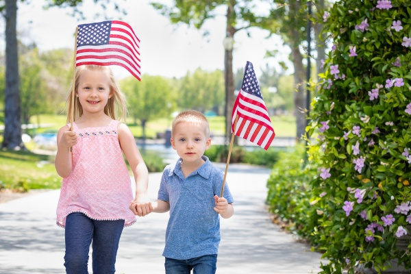 young, sister, and, brother, waving, american - 30159412