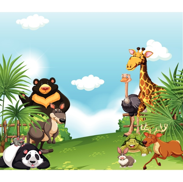 background, scene, with, wild, animals, in - 30199534