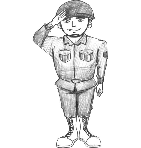 eine skizze eines soldaten