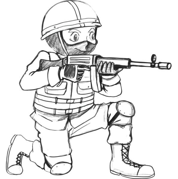 eine skizze eines soldaten mit einer