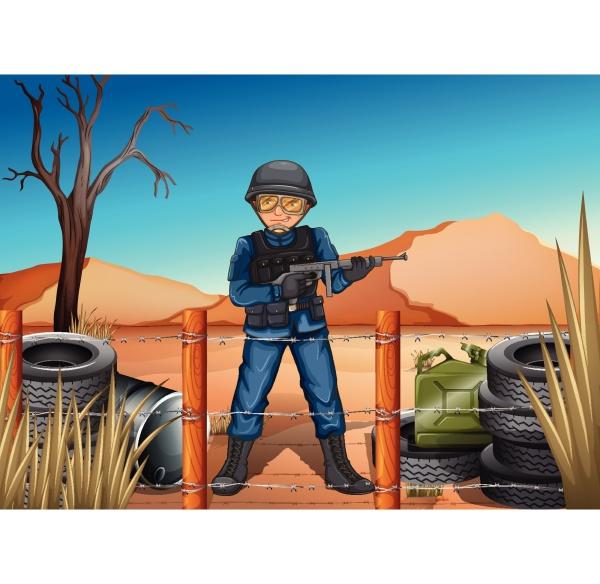 ein, soldat, auf, dem, schlachtfeld - 30279701