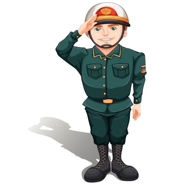 ein, soldat, der, etwas, respekt, zeigt - 30302680