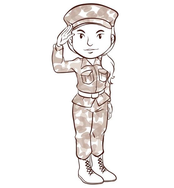 eine, einfache, skizze, einer, soldatin - 30305598