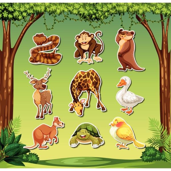 set von tieren aufkleber