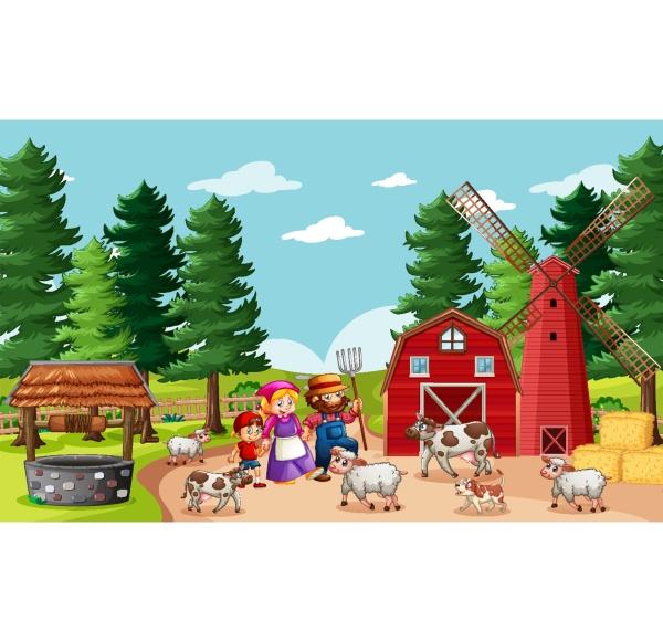 glückliche, familie, in, bauernhofszene, im, cartoon-stil - 30322448