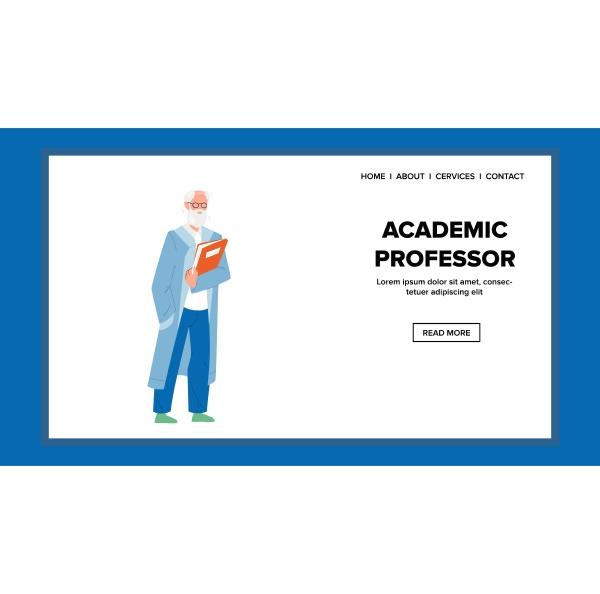 akademischer, professor, hält, buch, für, vorlesungsvektor - 30324245