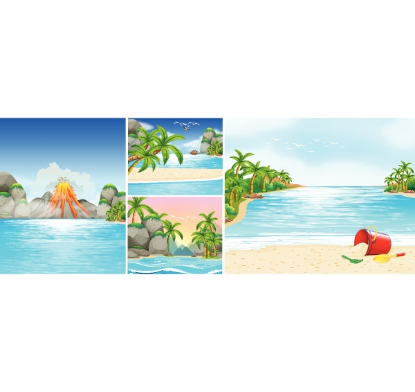 scene, with, beach, and, mountains - 30357407