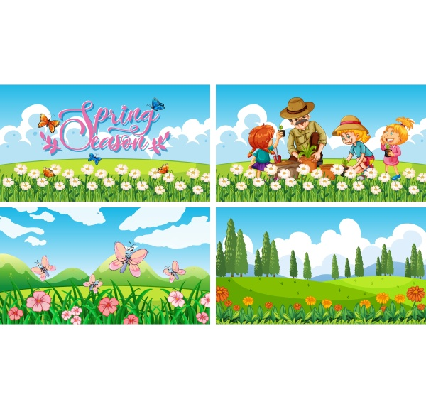 four, background, scenes, with, children, and - 30361800