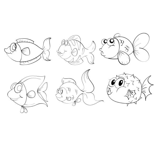 verschiedene fische im doodle design