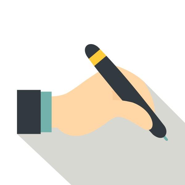 hand, holding, black, pen, icon, , flat - 30436613