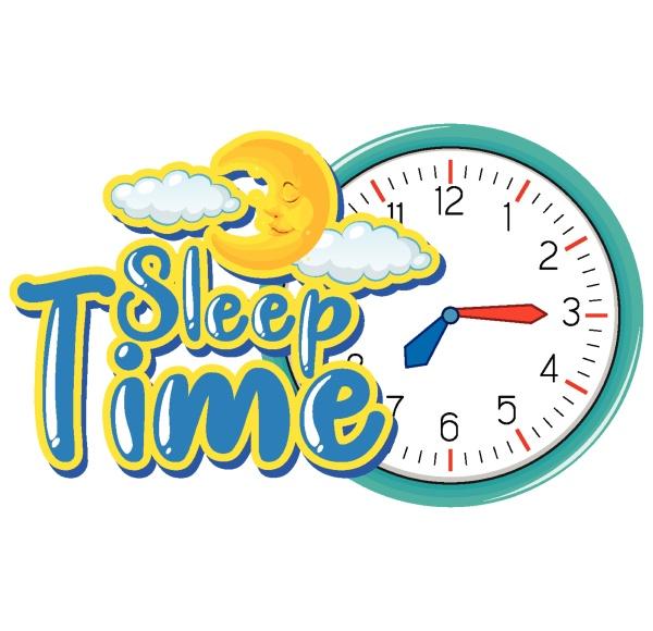 schriftdesign fuer woerter schlafzeit mit uhr