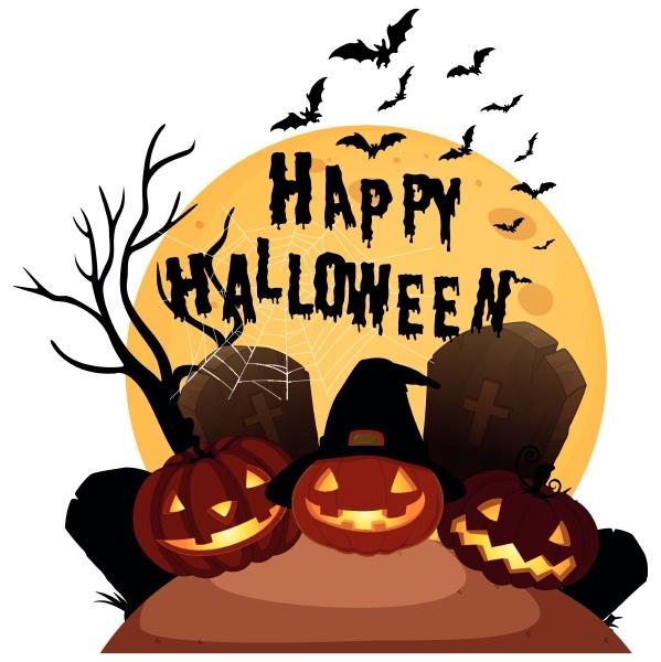 happy halloween auf weissem hintergrund