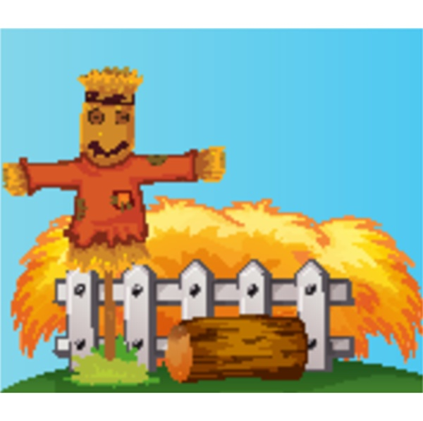 scarecrow, and, straw, cartoon, style - 30494775