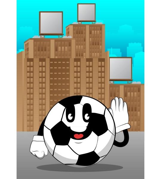 fussball haelt die hand an seinem