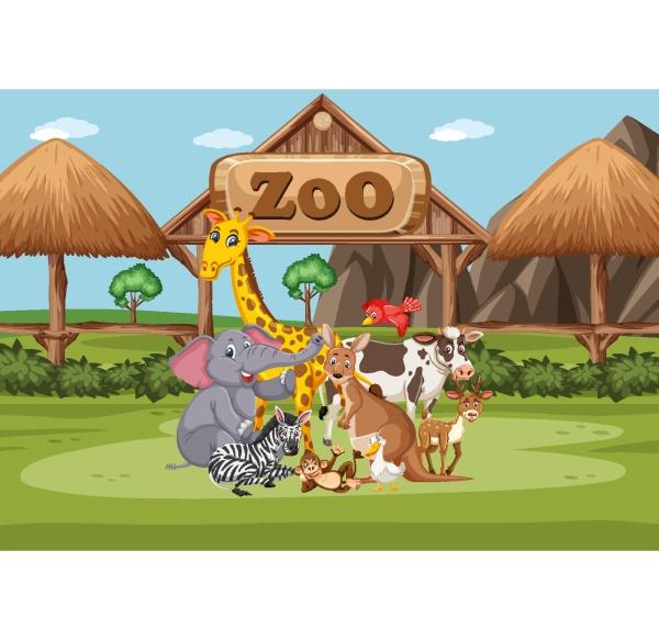 szene, mit, wilden, tieren, im, zoo - 30508957