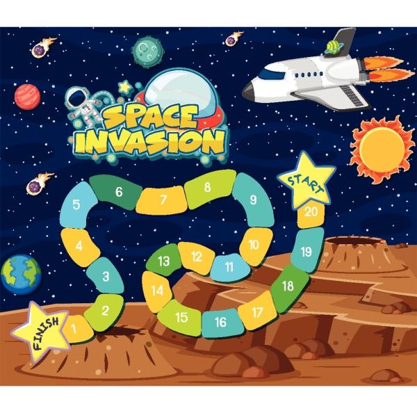 spielvorlage, mit, raumschiff, und, planeten, im - 30511412