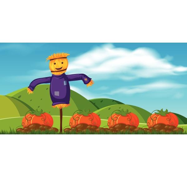 lustige vogelscheuche in pumpkin farm