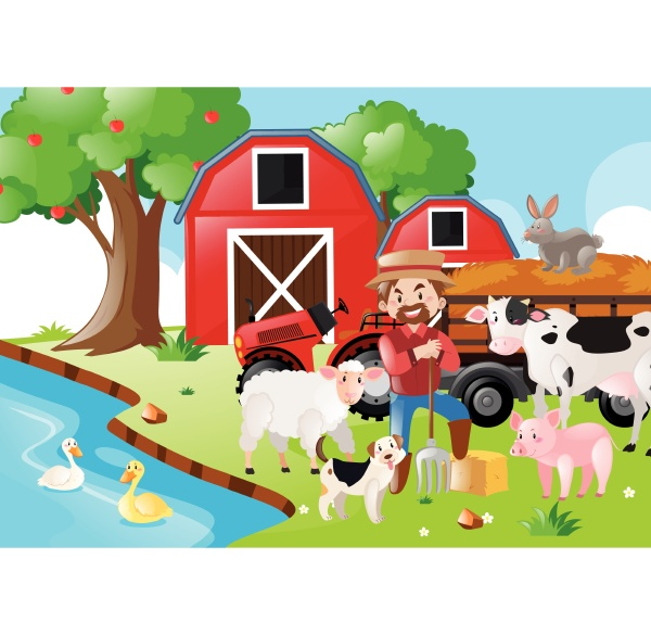 farm, scene, with, farmer, and, animals - 30531803