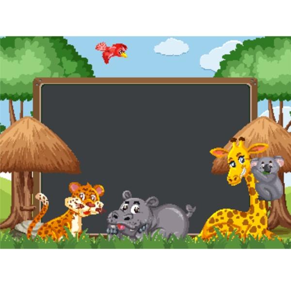 blackboard vorlagendesign mit wildtieren im zoo