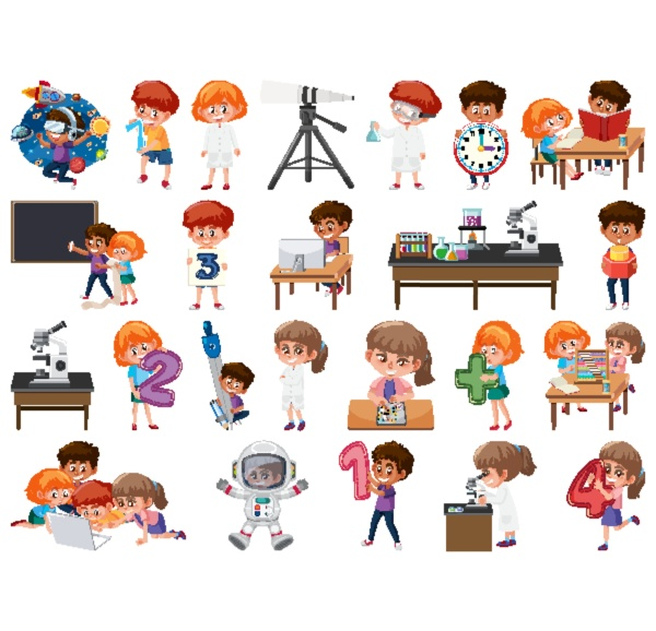 gruppe von kindern mit isolierten bildungsobjekten