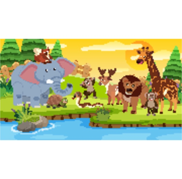 szene mit vielen wilden tieren zusammen