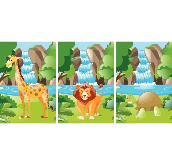 forest, scene, with, wild, animals - 30550460