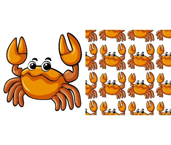 nahtloses hintergrunddesign mit niedlicher krabbe