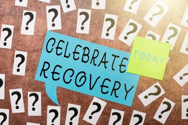 konzeptionelle anzeige celebrate recovery wort geschrieben