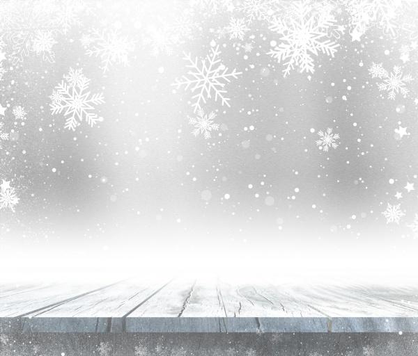 3d holztisch mit weihnachtlichem hintergrund