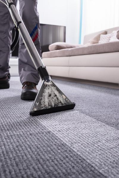 person reinigung teppich mit staubsauger