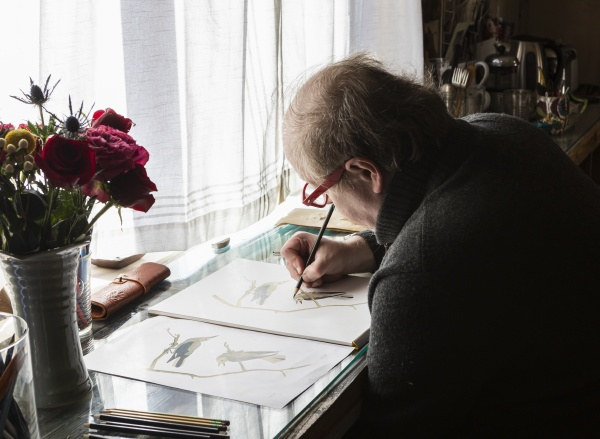 mature, artist, at, work, drawing, on - 30678903
