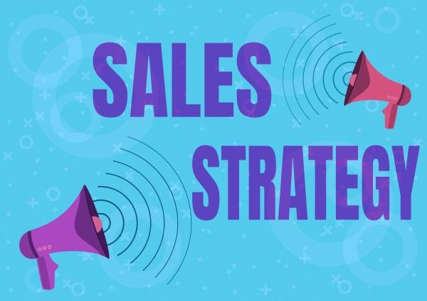 schild mit der verkaufsstrategie geschaeftsansatz