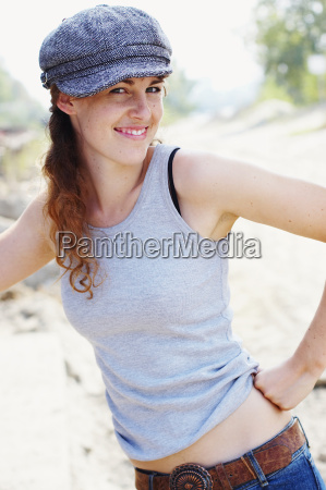 tank top woman smiling