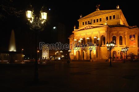 alte oper opernplatz and at night
