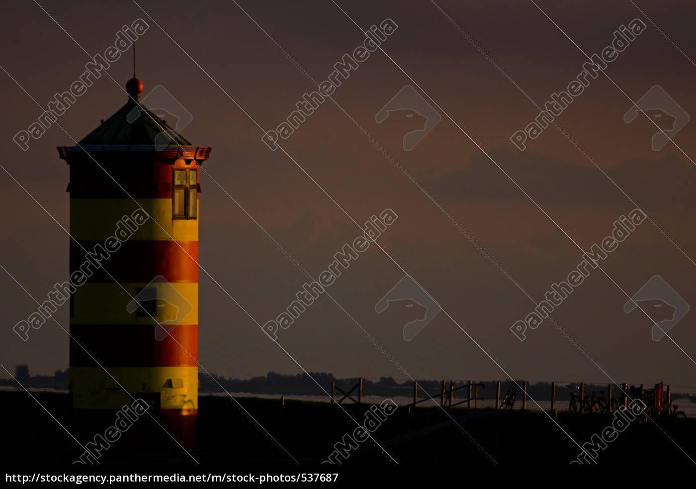 pilsum, leuchtturm, bei, sonnenuntergang - 537687