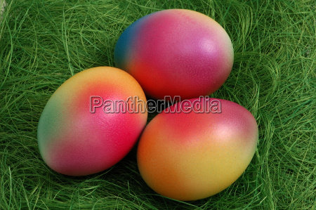 three colorful easter eggs in nest