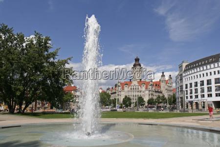 baum park rathaus brunnen springbrunnen sachsen