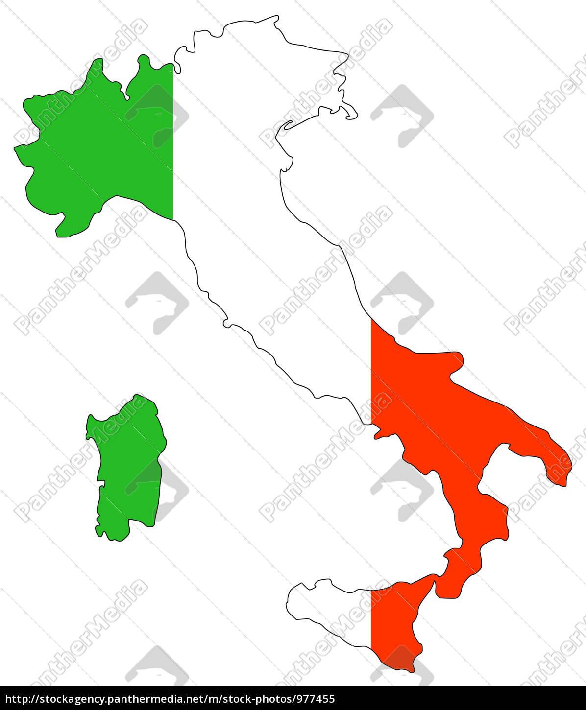 Landkarte Von Italien In Nationalfarben Lizenzfreies Bild