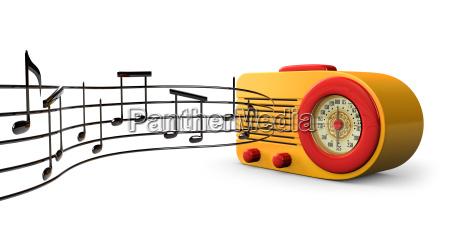 antikes radio mit musiknoten